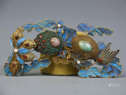 A Chinese Gilt Siver with Kingfisher Hair Accessories