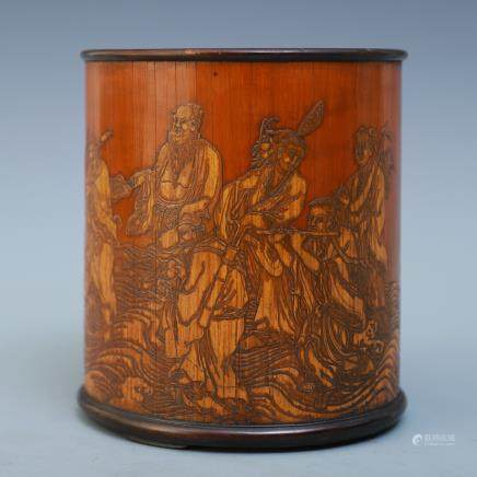 A Chinese Bamboo Brush Pot With Figures
