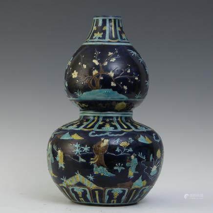 A Chinese Blue Glazed Porcelain Vase
