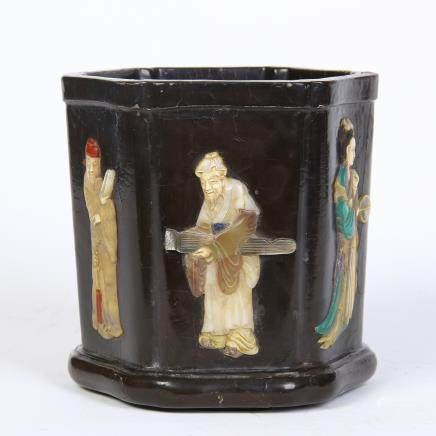 A Chinese Lacquer Brushpot