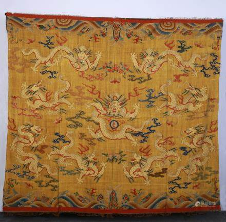 A Chinese Silk With Nine Dragons