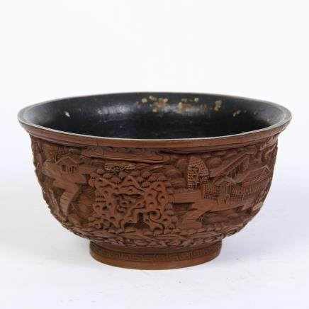 A Chinese Carved Lacquer Bowl