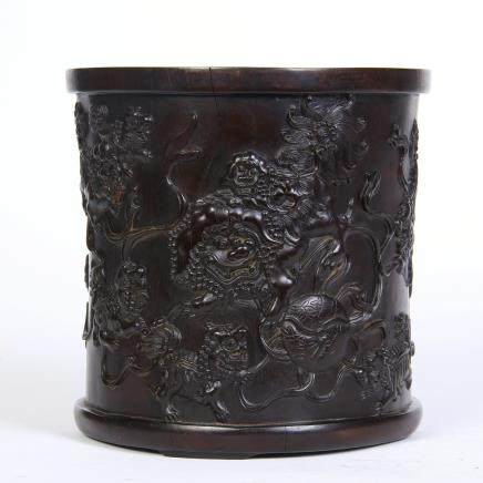 A Chinese Zitan Wood Brushpot