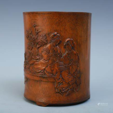 A Chinese Bamboo Brushpot With Figures