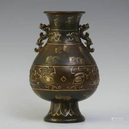 A Chinese Brown Glazed Porcelain Vase