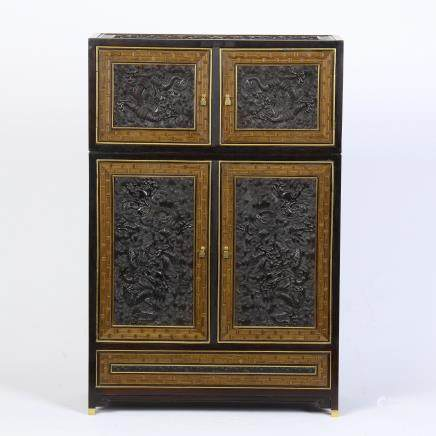 A Chinese Carved Zitan Book Case