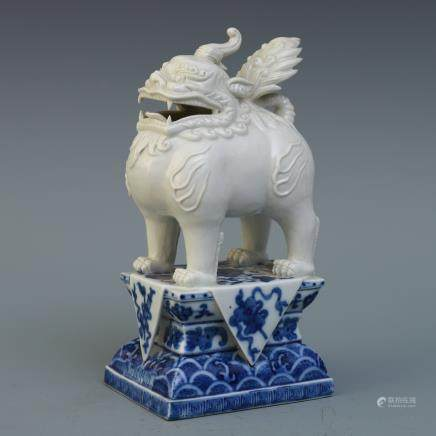 A Chinese Blue and White Foo-Dog Porcelain Insence Burner