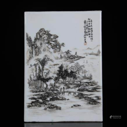 A Chinese Painting Procelain Plaque