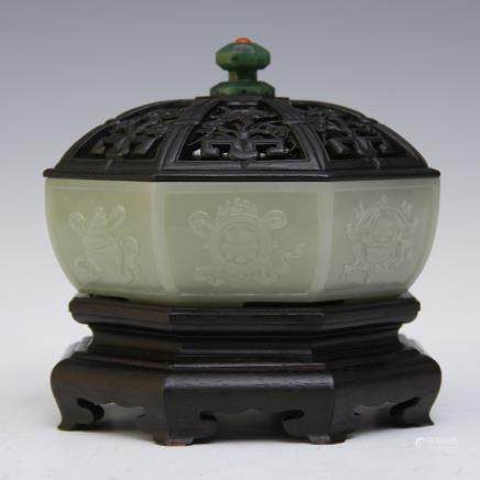 A Chinese Carved Jade Insence Burner