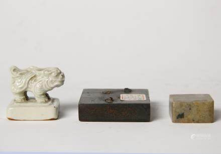 A Set Of Three Bronze, Porcelain And Shoushan Stone Chinese Seals