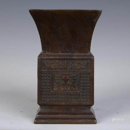 A Chinese Carved Zitan Square Vase