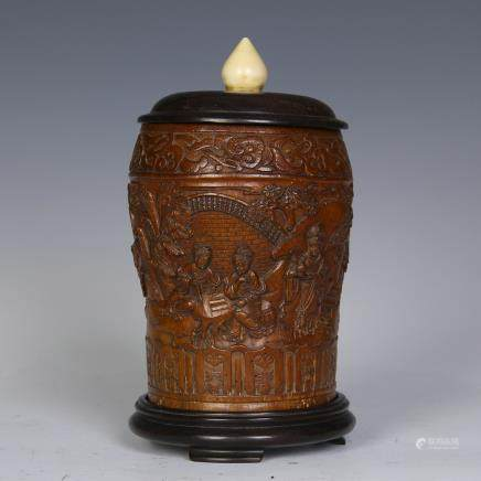 A Chinese Bamboo Carved Jar