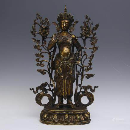 A Chinese Gilt Bronze Guanyin