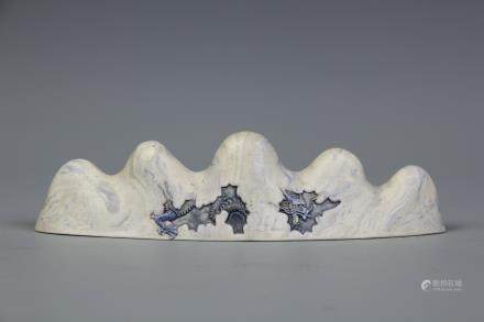 A Chinese Blue And White Porcelain Brush Rest