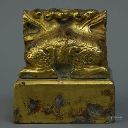 A Chinese Gilt Bronze Seal
