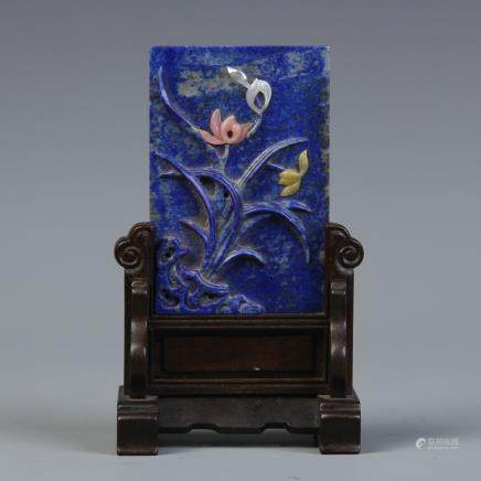 A Chinese Carved Lapis Lazuli Table Screen with Stand