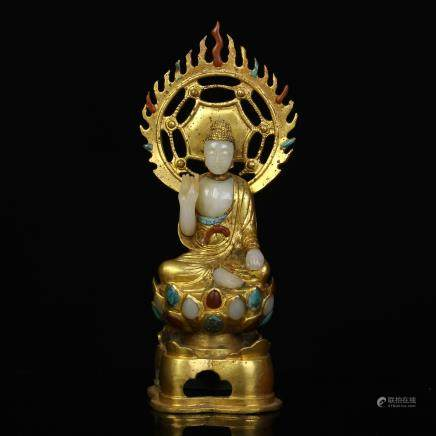 A Chinese Gilt Bronze Buddha with Carved Jade Inlaided