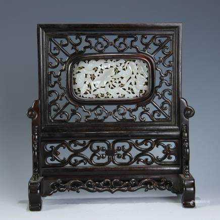 A Chinese Carved Zitan Table Screen with Carved Jade Inlaid