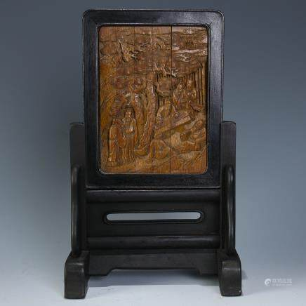 A Chinese Carved Hardwood Table Screen with Carved Bamboo Pannel Inlaid