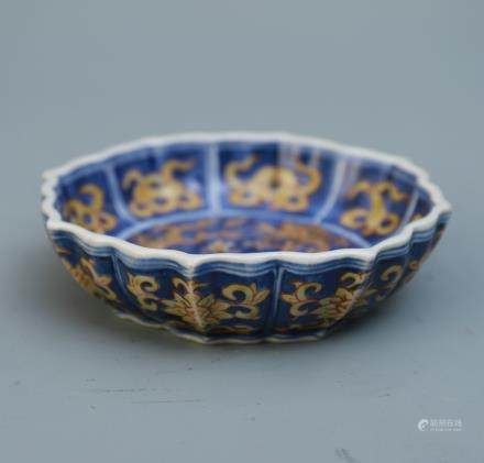 A Chinese Blue and Yellow Glazed Porcelain Plate