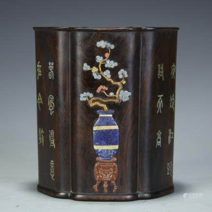 A Chinese Carved Zitan Brush Pot with Inlaid