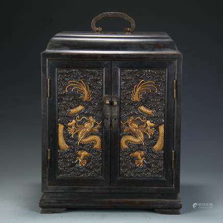 A Chinese Carved Wood Book Case