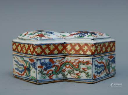 A Chinese Famille-Rose Porcelain Box with Cover