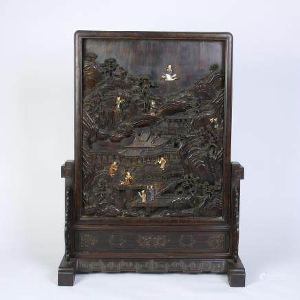 A Chinese Carved Zitan Screen