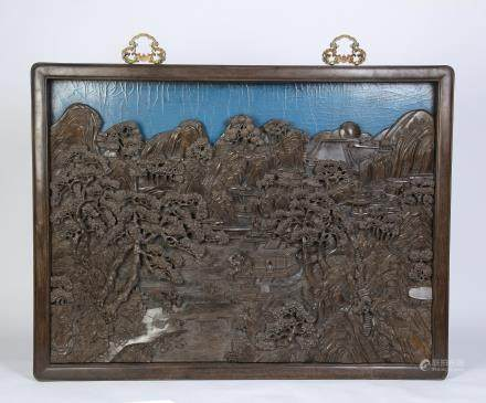 A Chinese Carved Zitan Hanging Screen