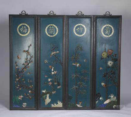 A Set of Four Carved Rosewood Hanging Screen