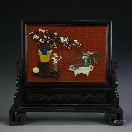 A Chinese Carved Zitan and Lacquer Screen