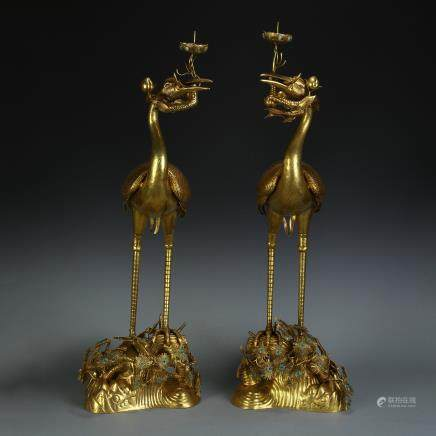 A Chinese Gilt Bronze Candle Holder