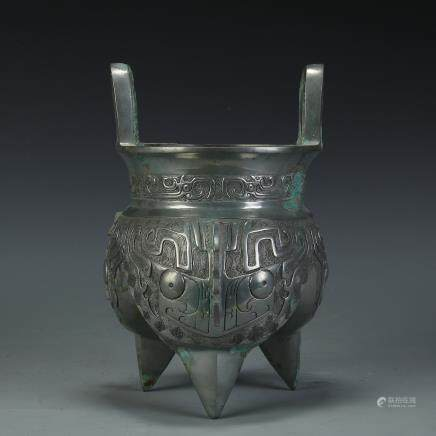 A Chinese Silver Bronze Insence Burner