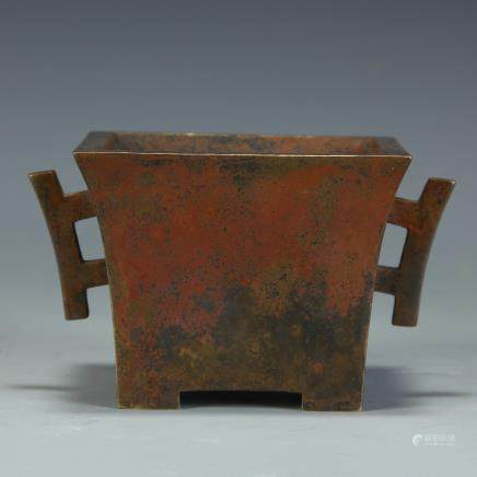 A Chinese Bronze Square Insence Burner with Two Ears