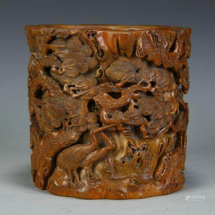 A Chinese Carved Bamboo Brush Pot