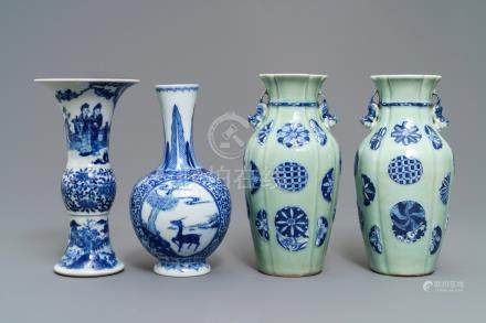 Four Chinese celadon-ground and blue and white vases, 19/20th C.