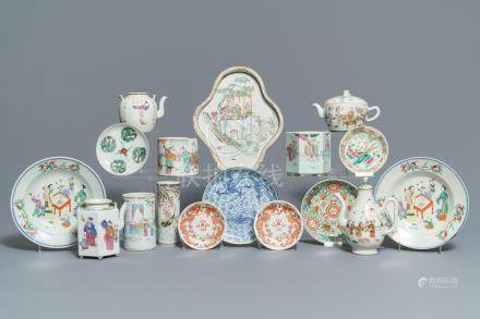 A collection of Chinese teapots, brush pots and plates, 19/20th C.