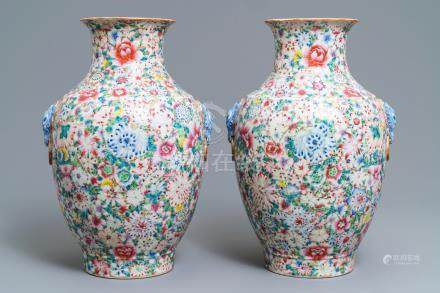 A pair of Chinese famille rose 'millefleurs' vases, Qianlong mark, Republic, 20th C.