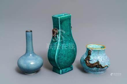 Three small Chinese monochrome vases, 19/20th C.