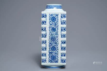 A Chinese blue and white cong vase with floral design, Qianlong mark, 19/20th C.