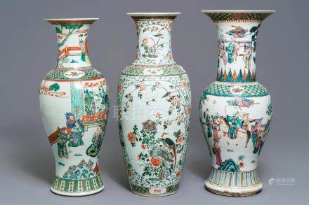 Three Chinese famille rose and verte vases, 19/20th C.