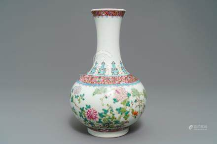 A Chinese famille rose tianqiu ping floral design vase, Hongxian mark, Republic, 20th C.