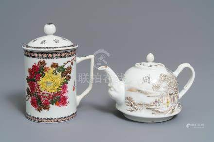 A Chinese polychrome 'winter landscape' teapot and a covered mug, 20th C.
