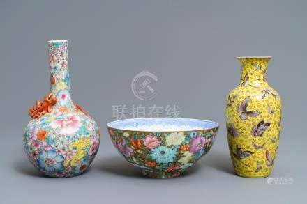 Two Chinese famille rose vases and an eggshell bowl, Qianlong marks, Republic, 20th C.