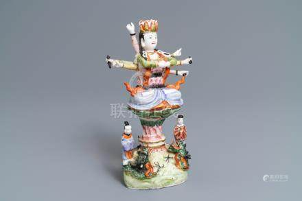 A Chinese famille rose figure of the ten-armed Avalokitesvara, Republic, 20th C.