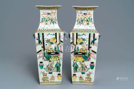 A pair of square Chinese famille rose vases with warriors and court scenes, 19th C.