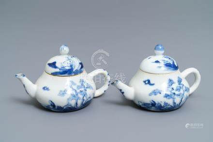 A pair of Chinese blue and white 'Bleu de Hue' Vietnamese market teapots, 19th C.