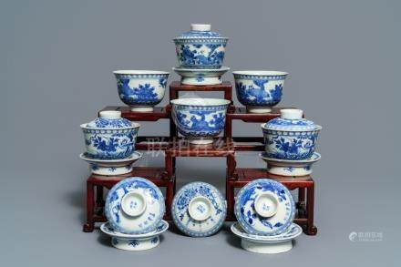 Six Chinese blue and white 'Bleu de Hue' covered bowls for the Vietnamese market, 19th C.