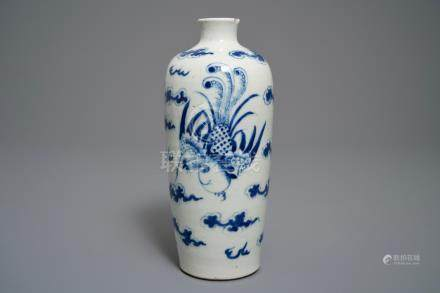 A Chinese blue and white 'Bleu de Hue' Vietnamese market meiping vase, 19th C.