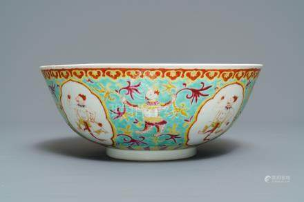 A large Chinese Thai market Bencharong bowl, Yongzheng mark, 19th C.